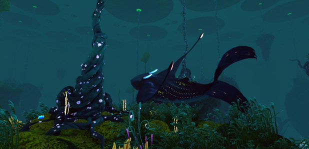 A giant, peaceful whale drifts through Lillypad Islands at night